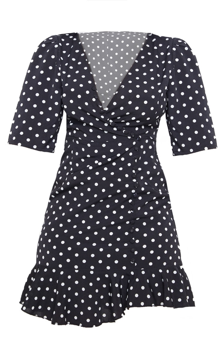 Petite Black Polka Dot Button Detail Frill Hem Tea Dress 3