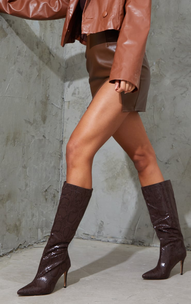 Chocolate Snake Scale Pointed Toe Stiletto Boots 2