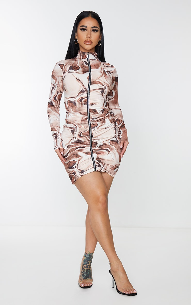 Shape Brown Marble Print Zip Front Collar Detail Bodycon Dress 4