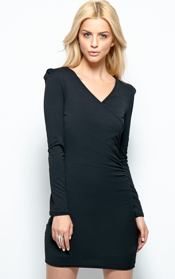 Mina Black Crossover Bodycon Dress 1