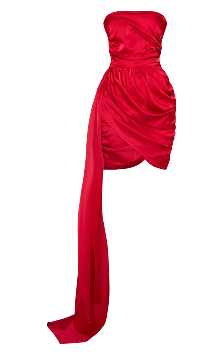Red Satin Ruched Drape Detail Bodycon Dress 3