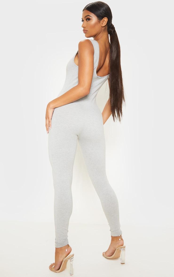 Grey Cotton Elastane Mesh Panel Sleeveless Jumpsuit 2