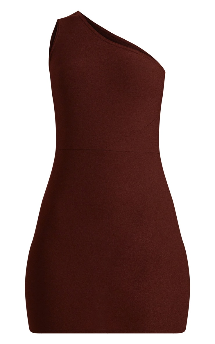 Chocolate Brown One Shoulder Bodycon Dress  3