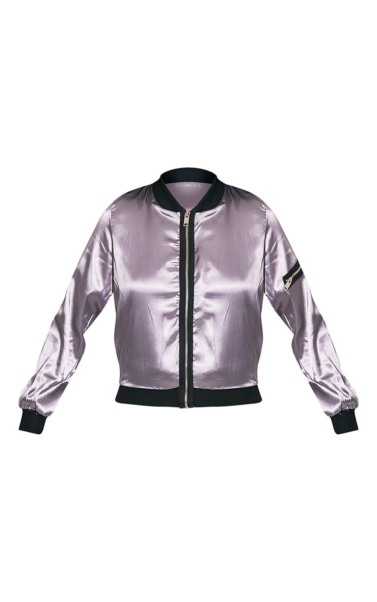Zaynab Grey Lightweight Satin Bomber Jacket 5