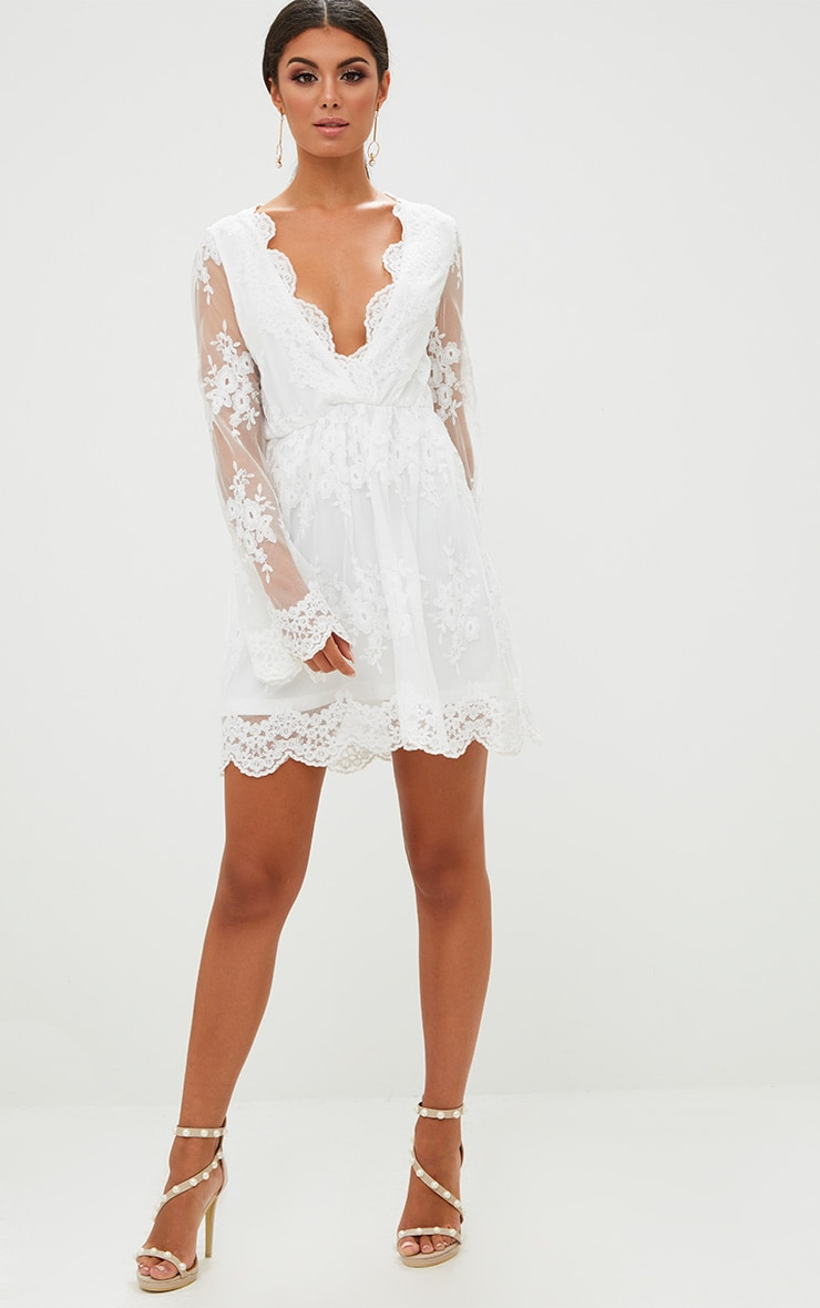 White Lace Plunge Bell Sleeve Skater Dress  4