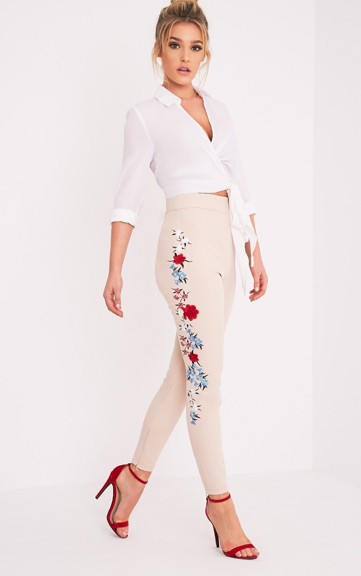 Kamari Nude Embroidered Skinny Trousers 1