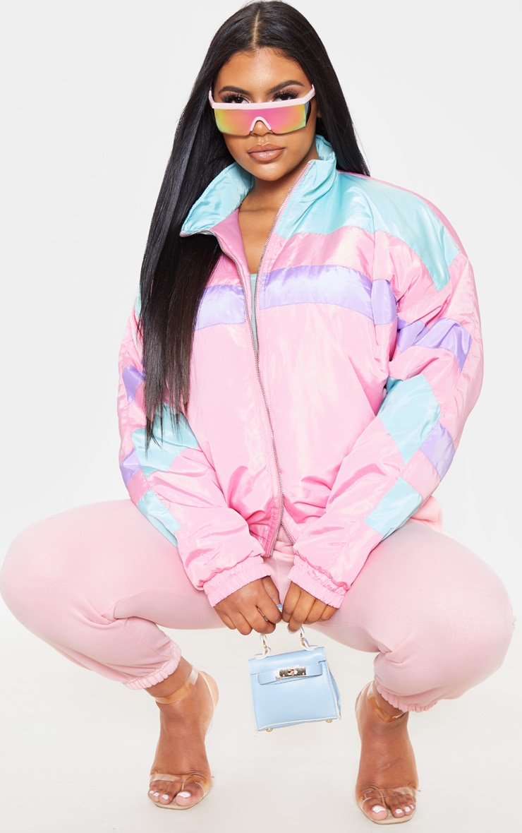 Pink Padded Stripe Detail Bomber 1