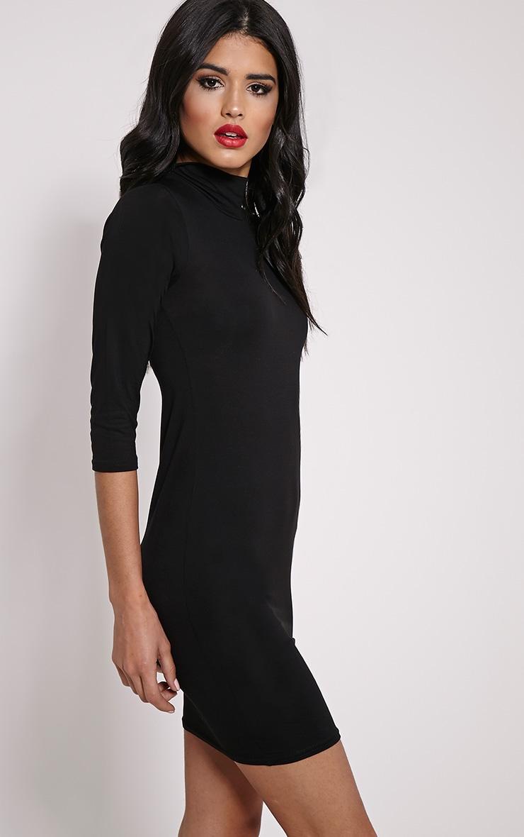 Basic robe mini col montant noire 4