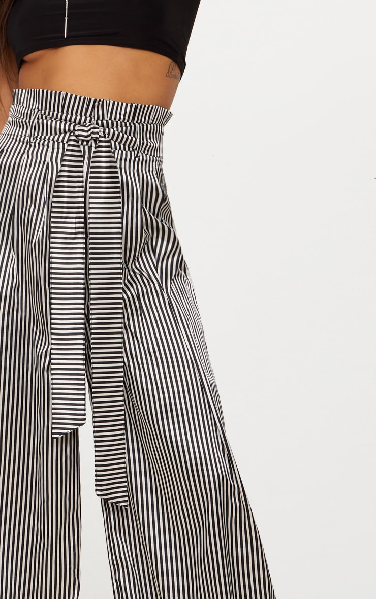 Monochrome Satin Stripe Paperbag Wide Leg Trousers 5