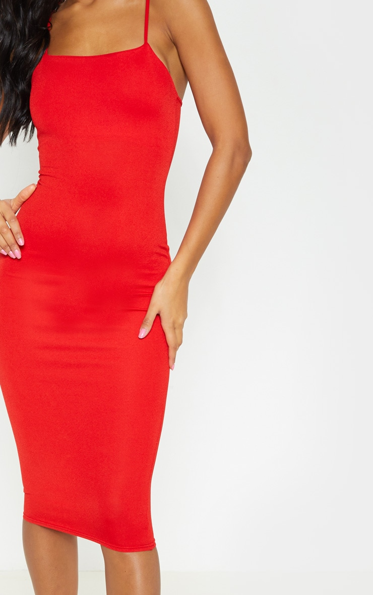 Red Strappy Midi Dress 5