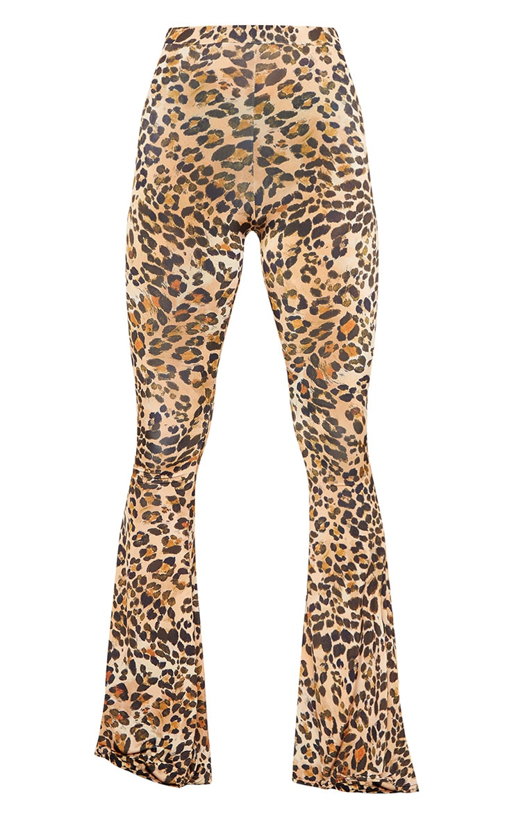 Brown Slinky Leopard Print Flared Trousers 3