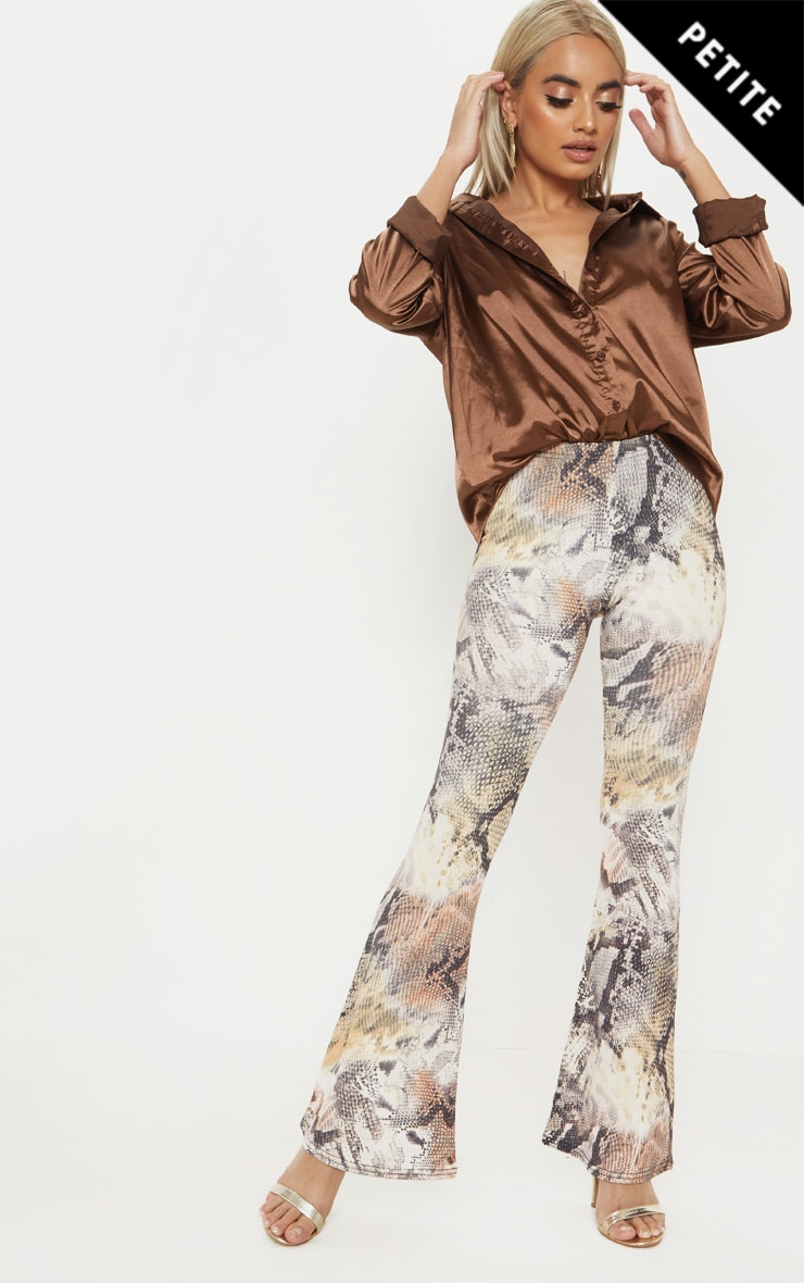 Petite Brown Flare Snake Print Trousers 1
