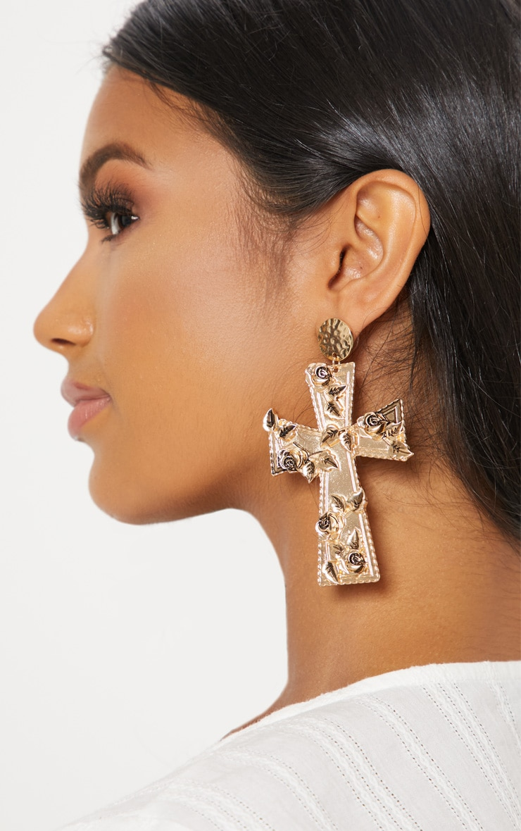 Gold Chunky Rose Leaf Cross Earrings