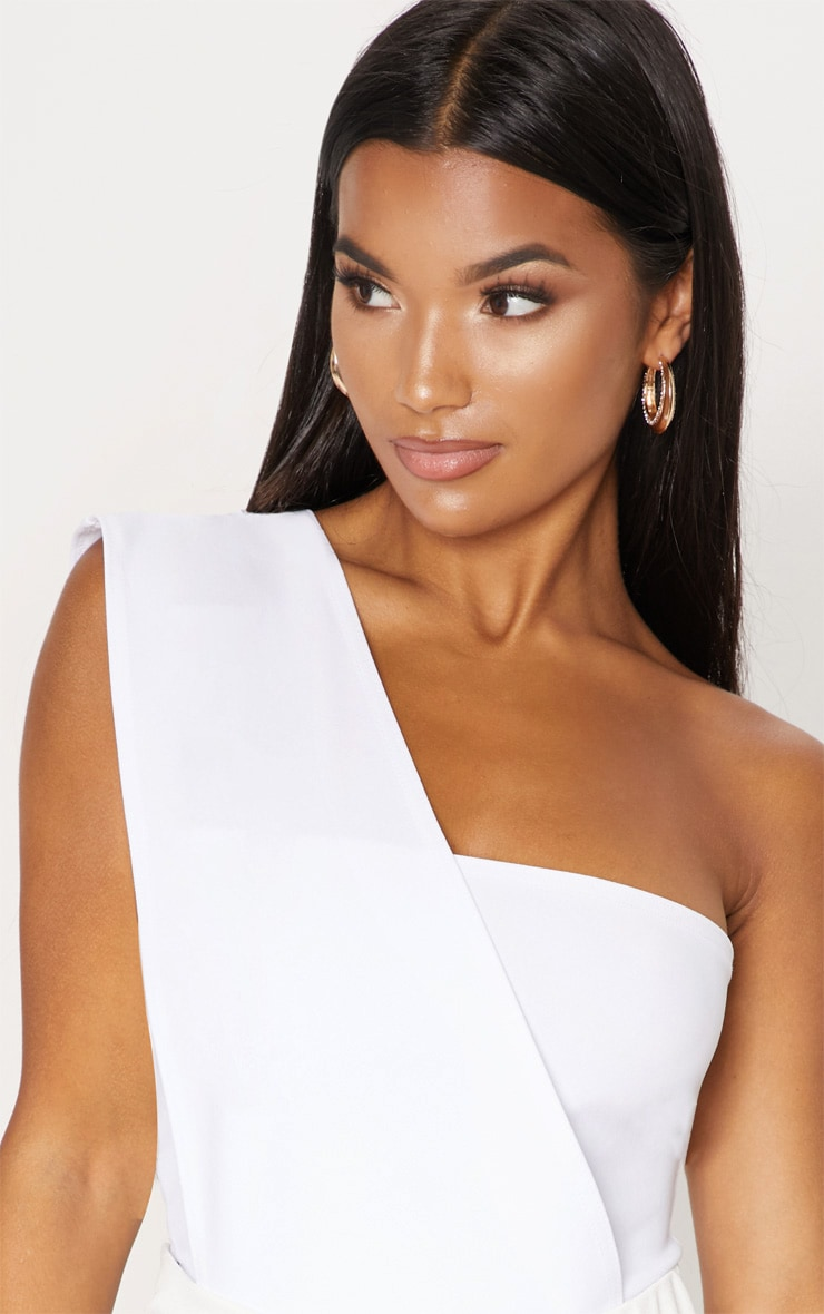 White One Shoulder Bodysuit 6