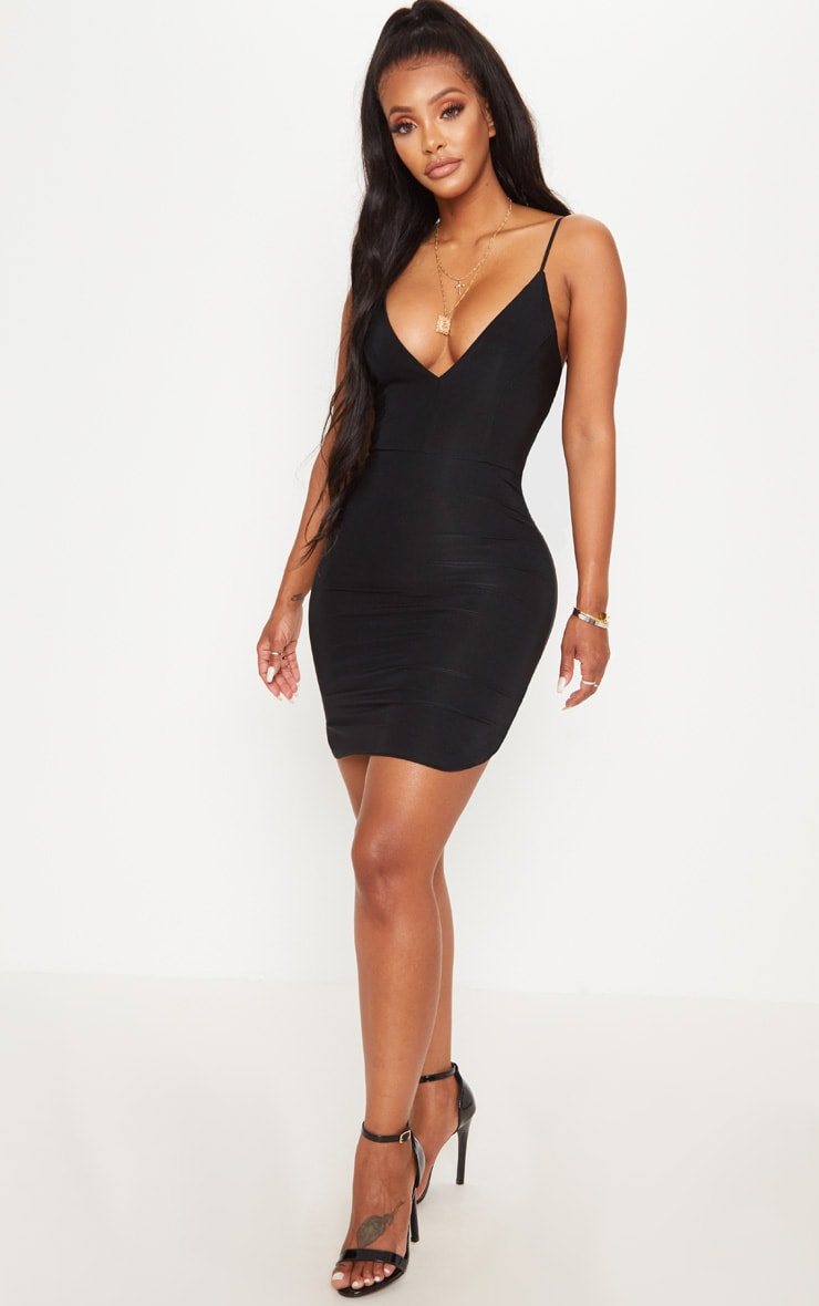 Shape Black Slinky Plunge Strappy Bodycon Dress 3