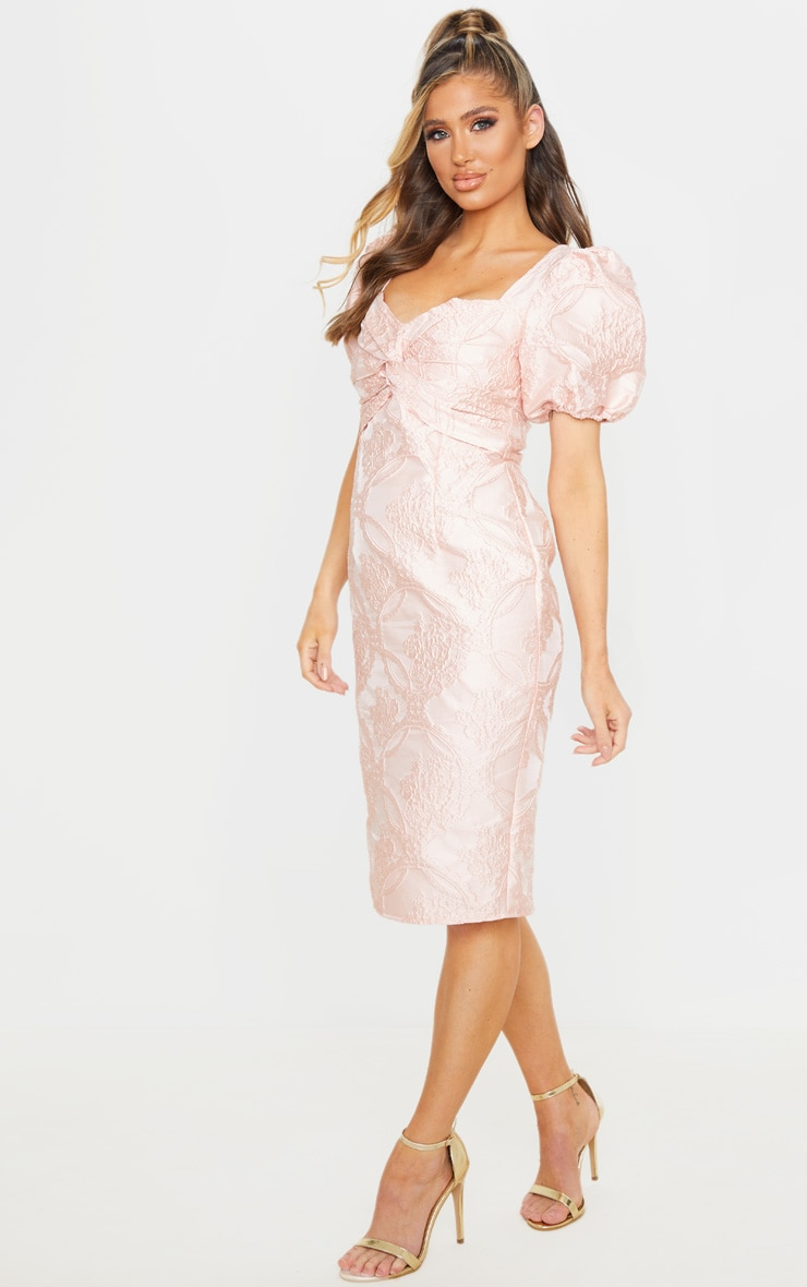 Dusty Pink Puff Sleeve Twist Front Jacquard Midi Dress 3
