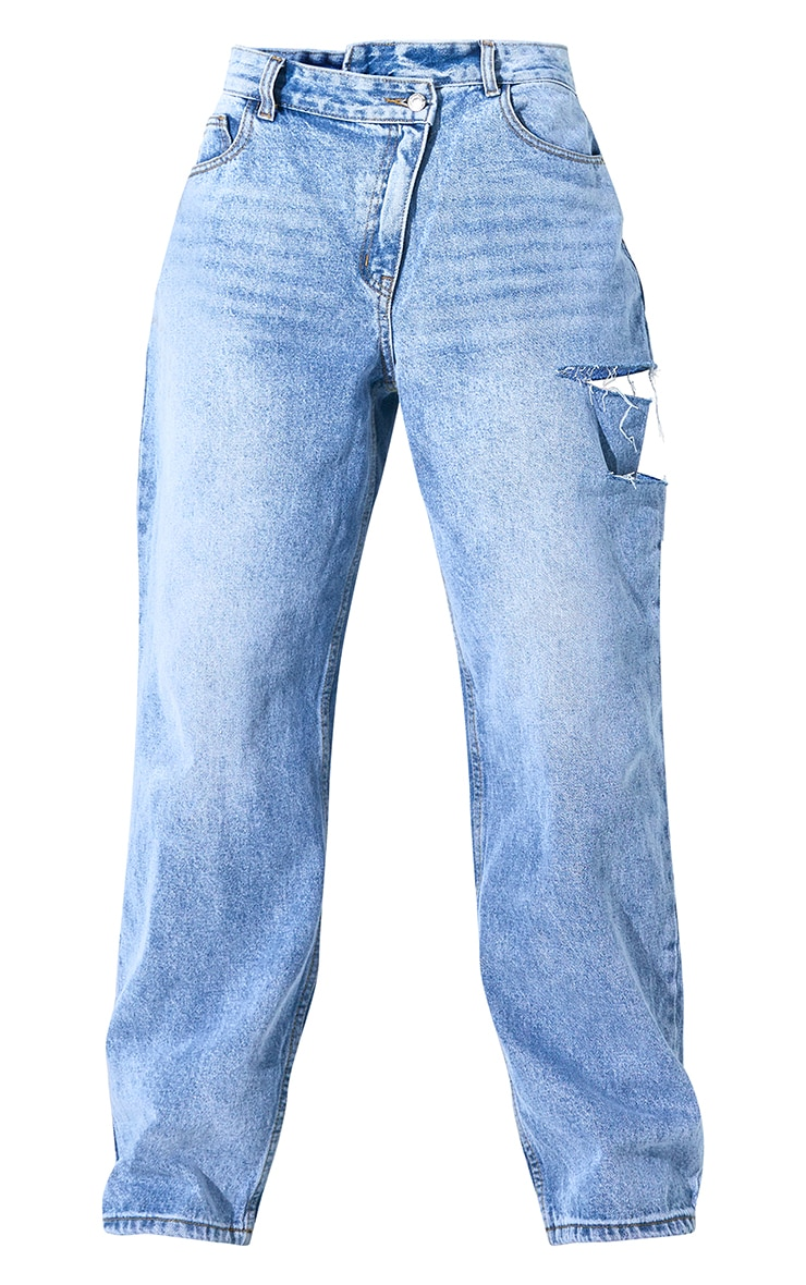 Light Blue Wash Baggy Low Rise Asymmetric Waistband Thigh Split Boyfriend Jean 6