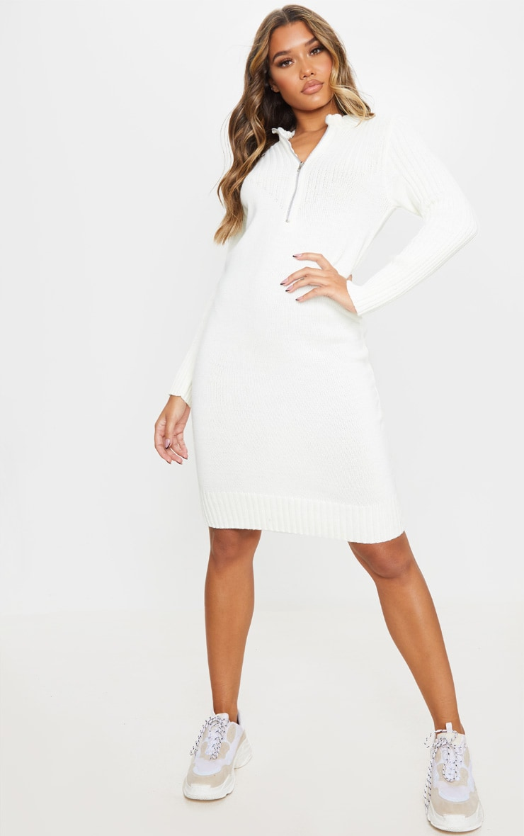 Cream Zip Front Knitted Sweater Dress 1