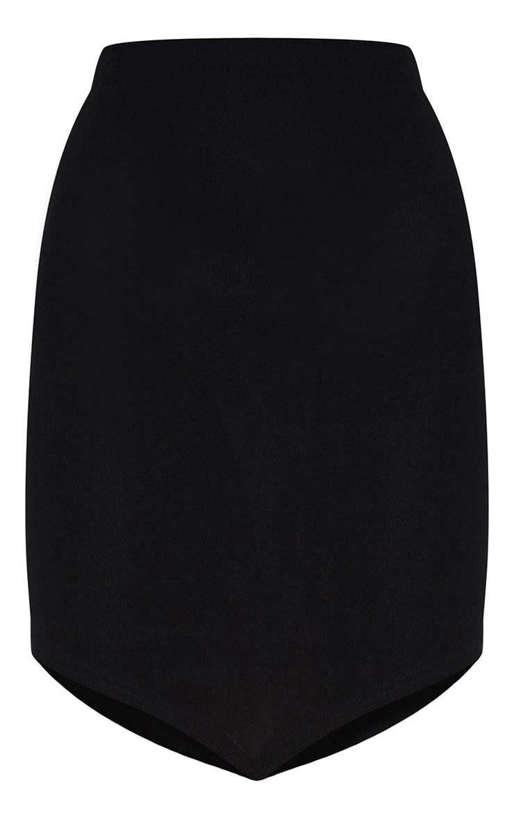 Black Crepe Pointed Front Mini Skirt 3