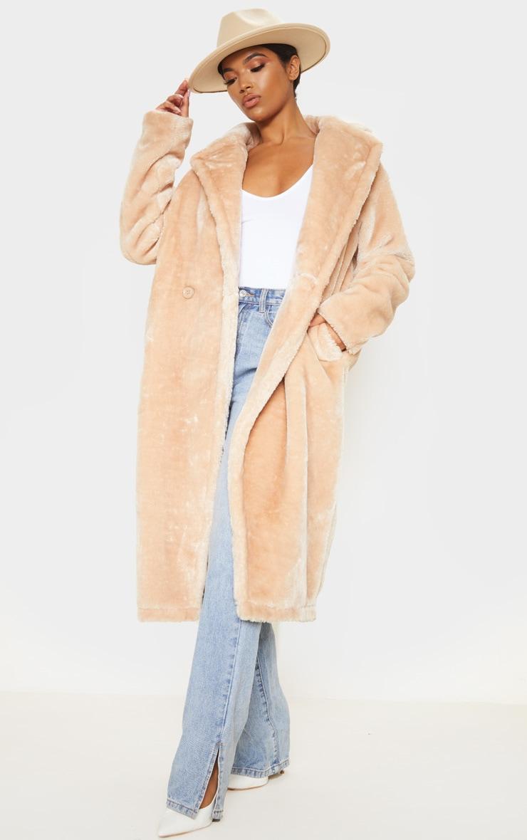 Stone Large Lapel Midaxi Faux Fur Coat 1