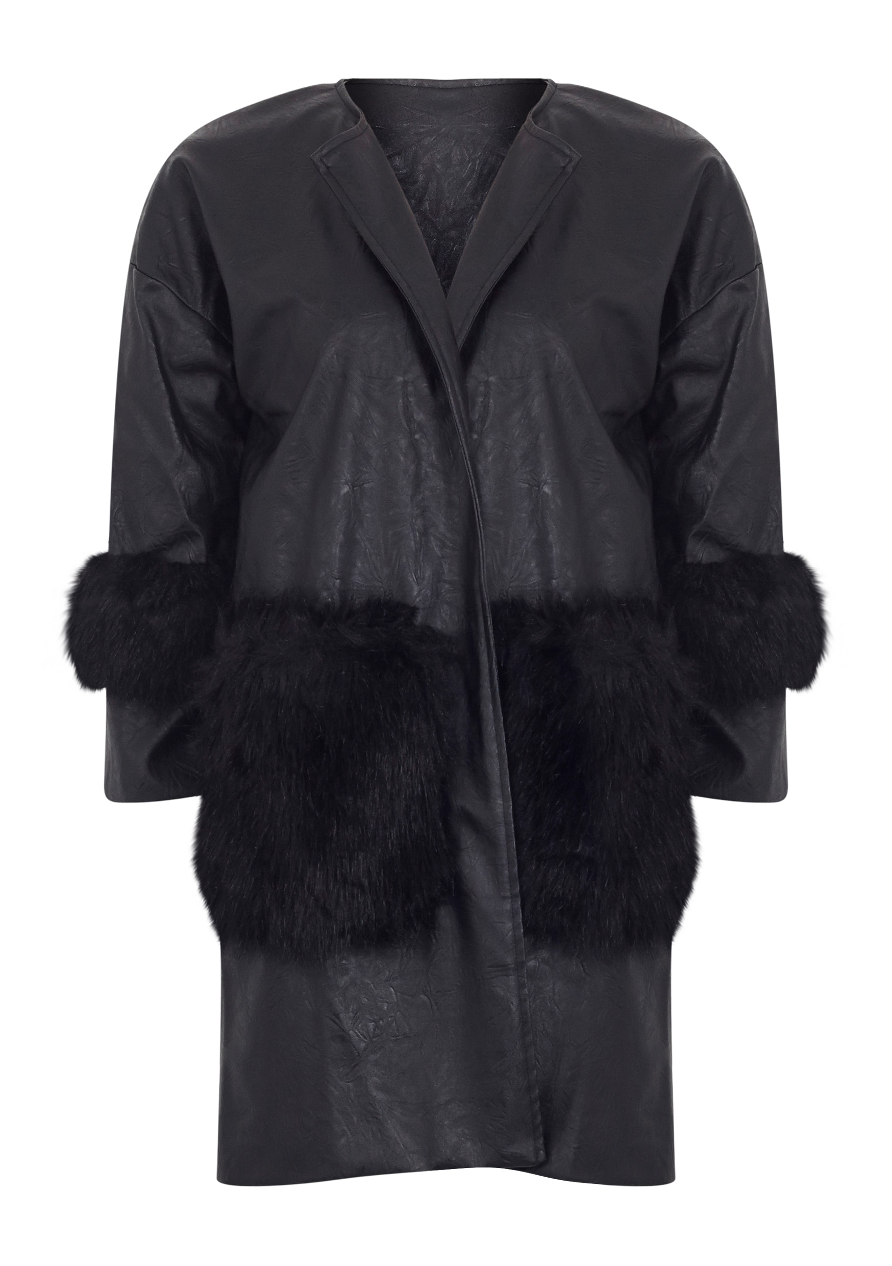 Nigela Black Leather Faux Fur Detail Collarless Coat-S 5