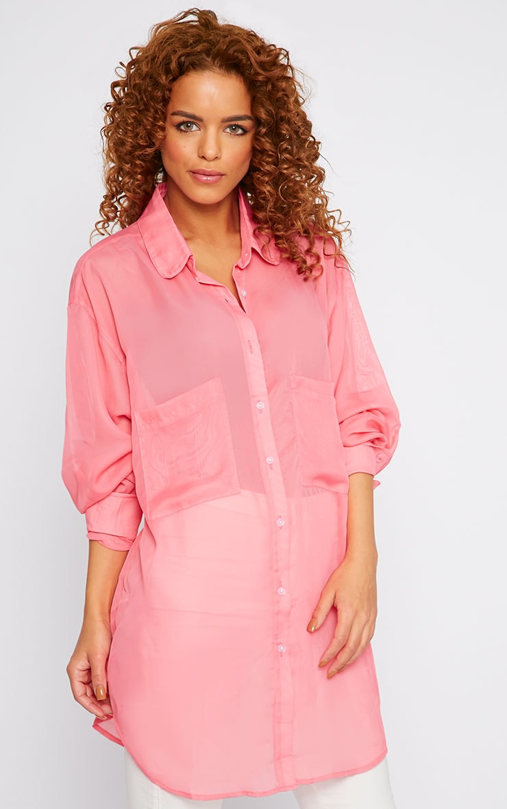 Esme Pink Sheer Oversized Shirt 1