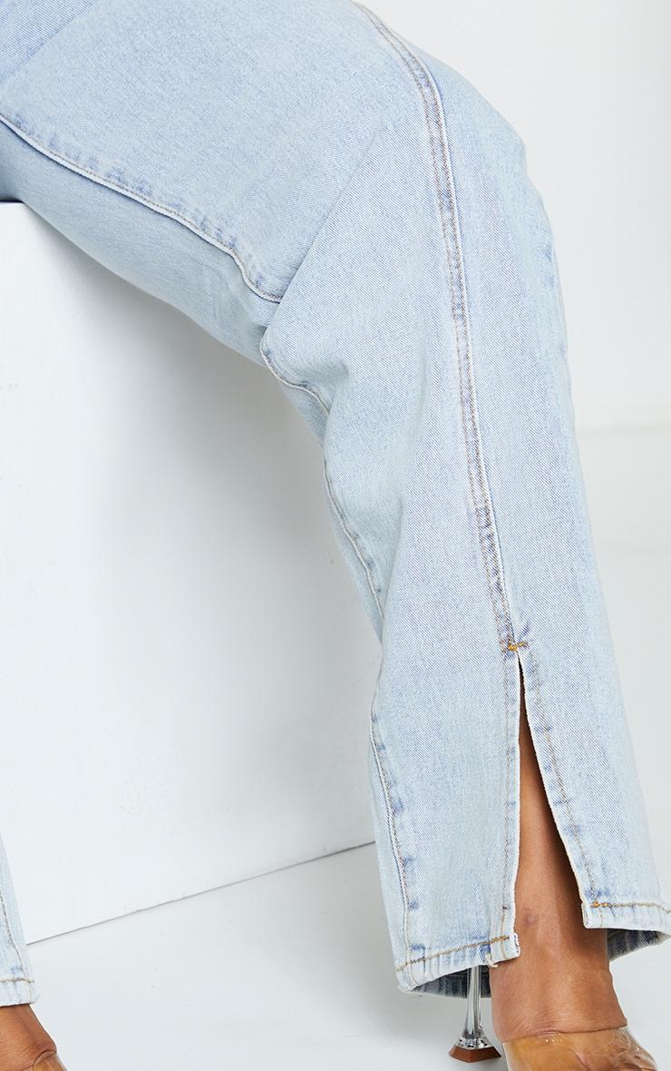 Plus Light Blue Wash Seam Detail Split Front Jeans 4