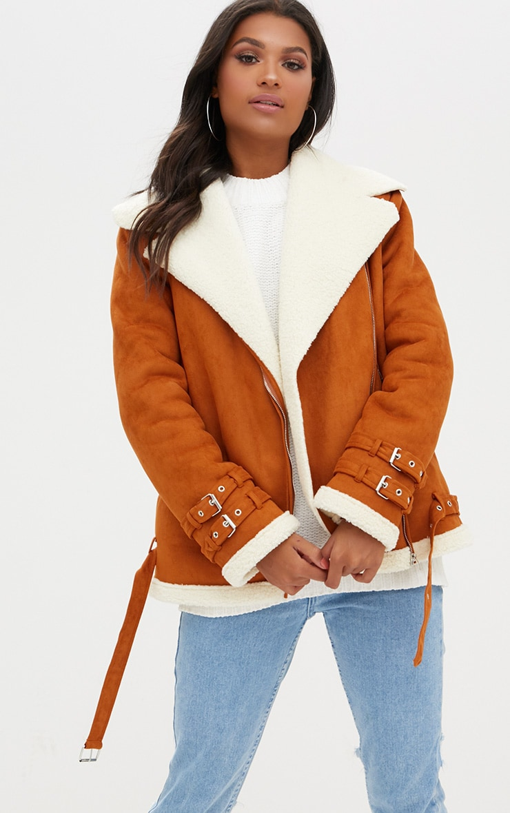 Tan Faux Suede Aviator Jacket 1