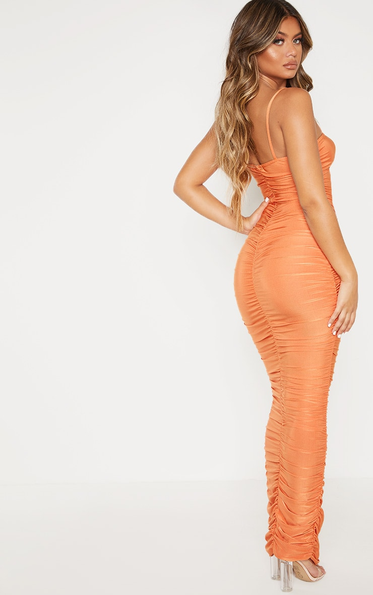 Orange Strappy Slinky Ruched Back Maxi Dress 4