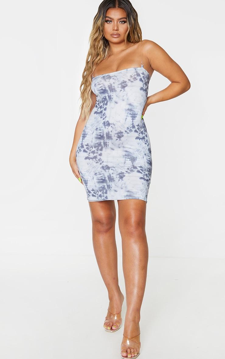 Blue Tie Dye Slinky Clear Strap Bodycon Dress 3