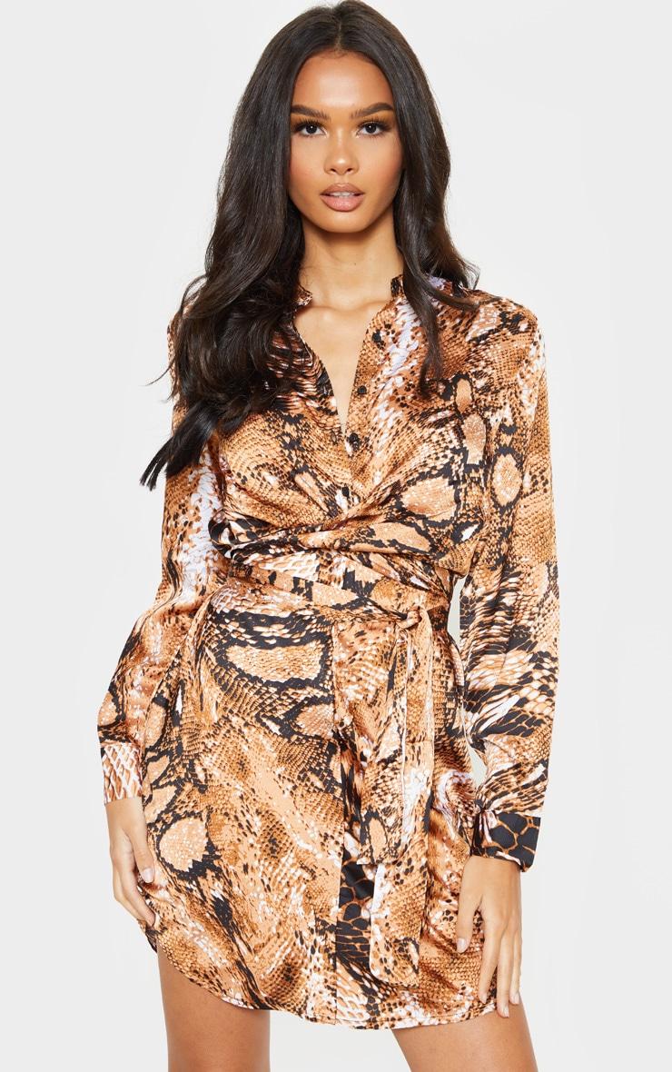 Orange Snake Print Tie Waist Collarless Shirt Dress 1