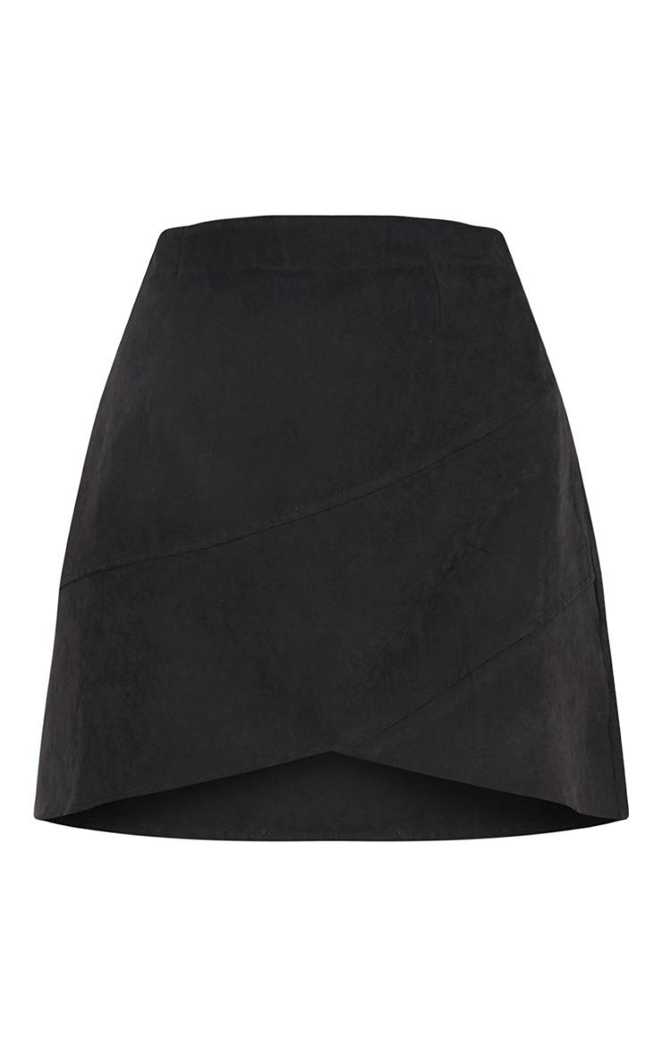 Bexley minijupe portefeuille noire imitation daim 3
