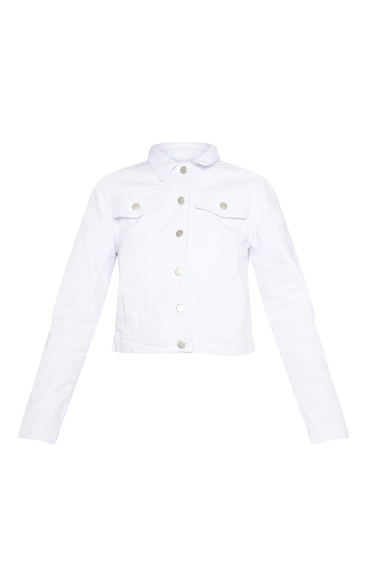 Cropped White Denim Jacket  3