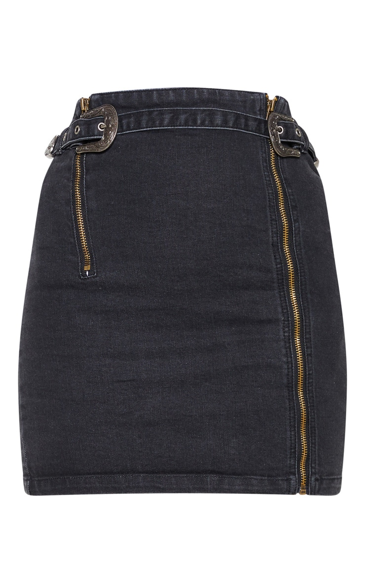 Black Denim Western Belted Mini Skirt 3
