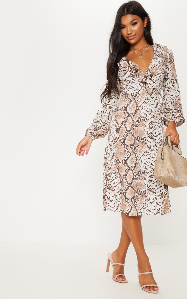 Snake Wrap Printed Frill Detail Midi Tea Dress 4
