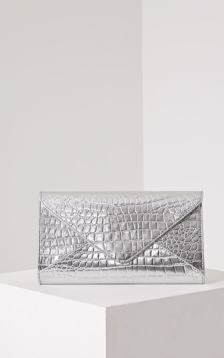 Janie Silver Metallic Croc Clutch Bag 1