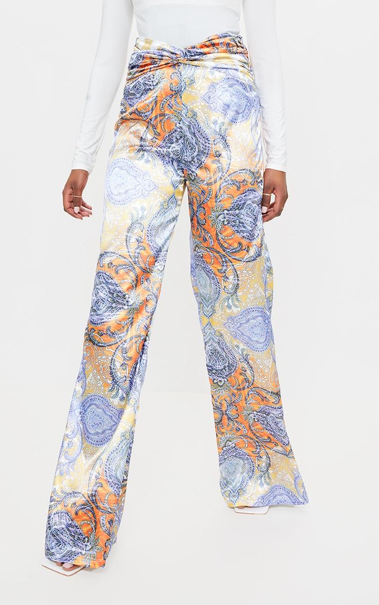 Multi Paisley Printed Satin Ruched Waist Wide Leg Pants 2