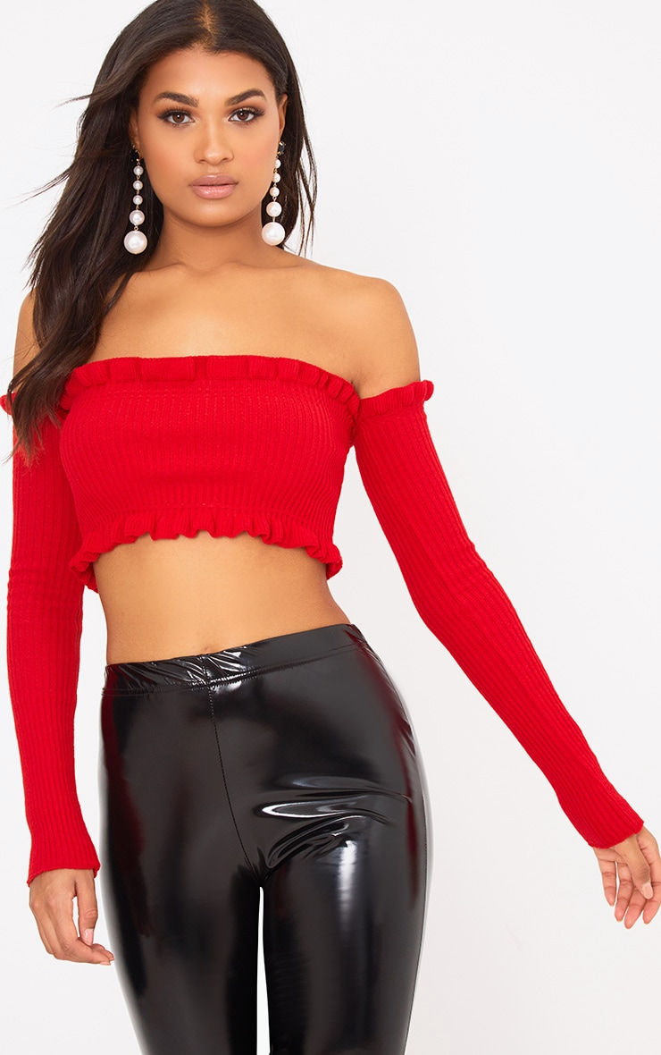 Red Ruffle Detail Knit Bardot Long Sleeve Top 1