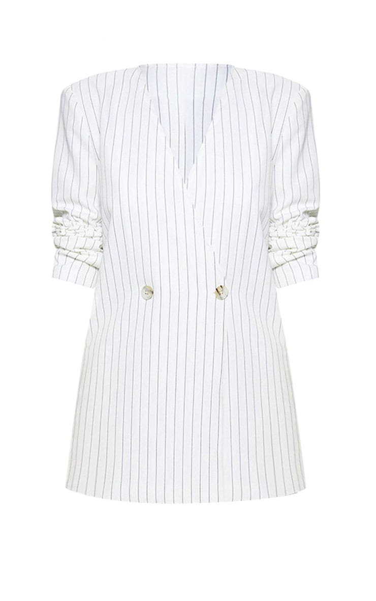 White Pinstripe Double Breasted Oversized Blazer 3