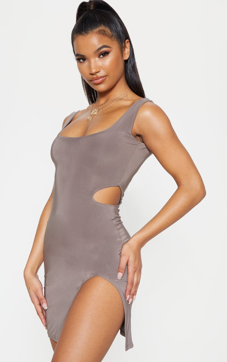 Taupe Slinky Cut Out Bodycon Dress 1