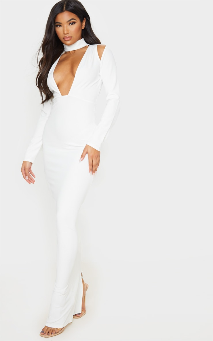 White High Neck Extreme Plunge Maxi Dress 1