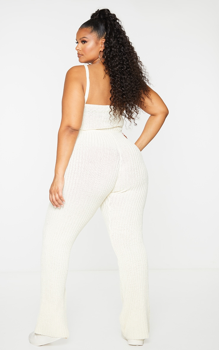 Plus Cream Strappy Knitted Flared Leg Jumpsuit 2