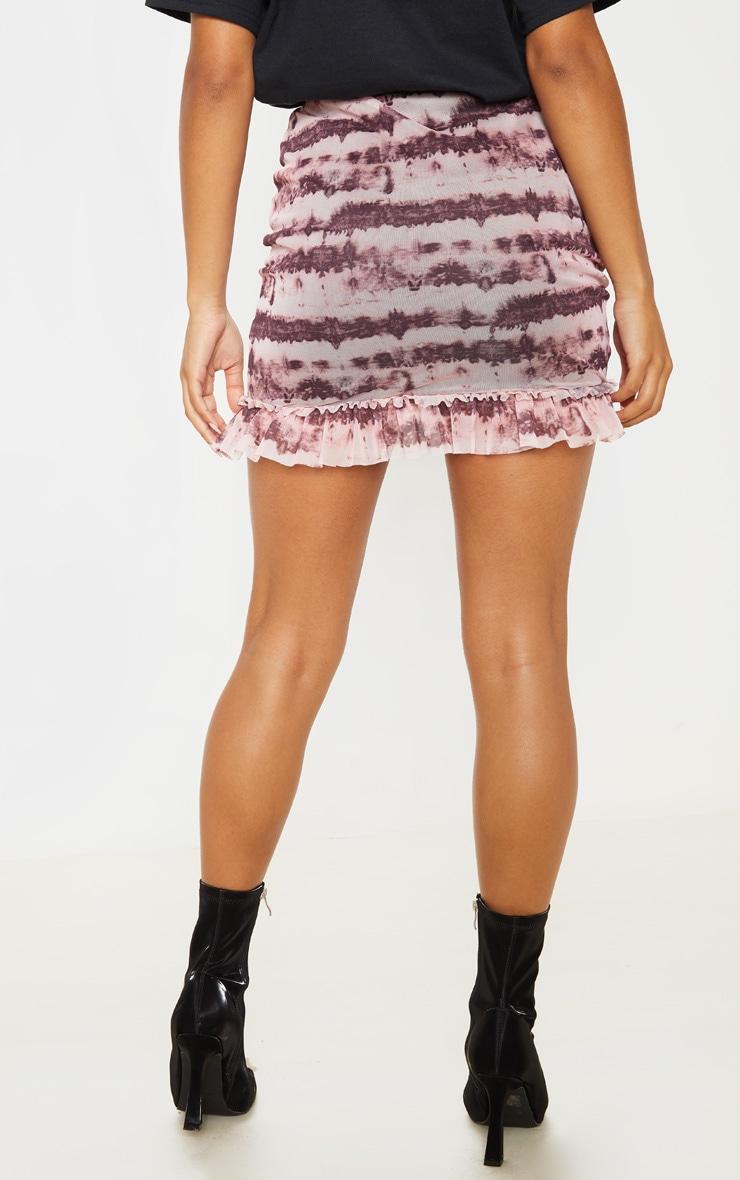 Maroon Mesh Tie Dye Frill Hem Mini Skirt 4