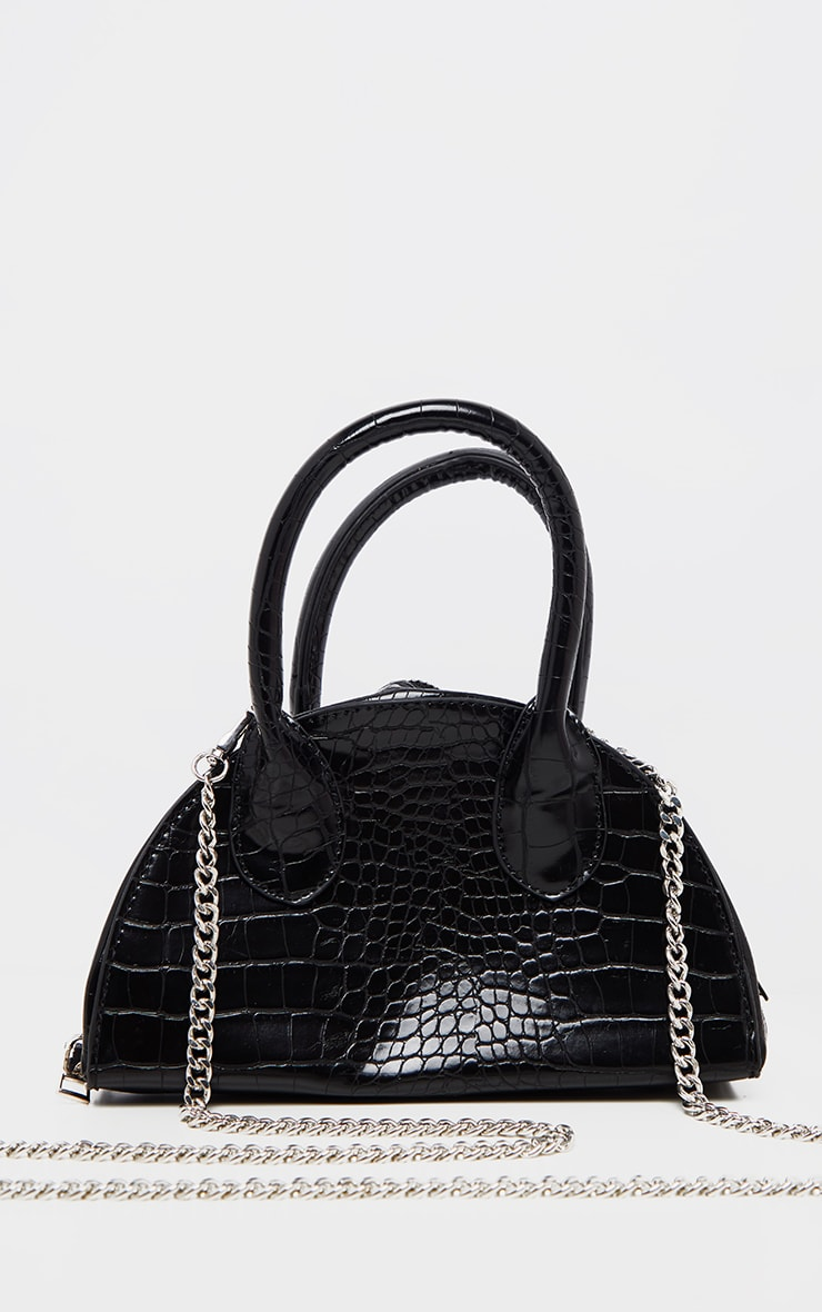 Black Croc Half Circle Mini Grab Bag 2