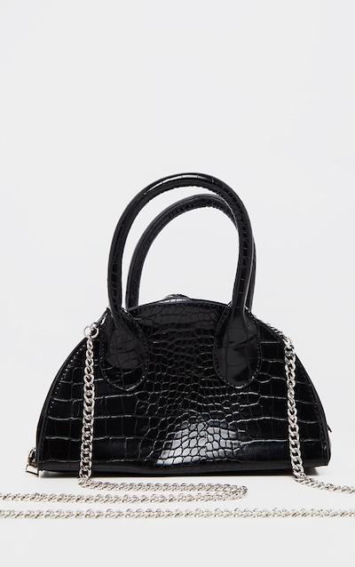 Black Croc Half Circle Mini Grab Bag