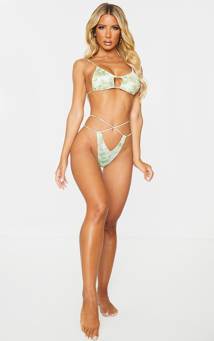 Green Acid Cut Out Tie Bikini Bottoms 3