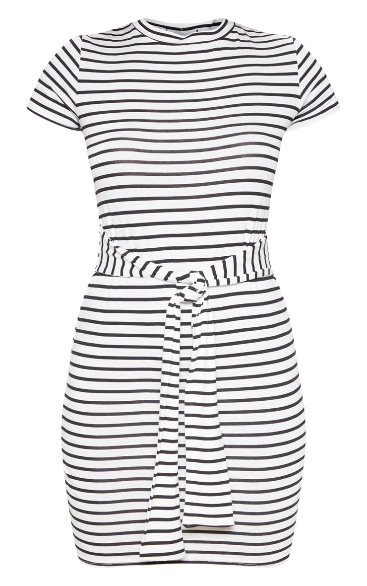 White Stripe Tie Waist T Shirt Dress 3