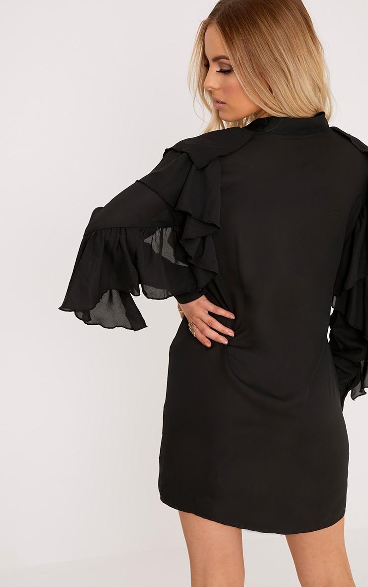 Jezmeena Black Frill Detail Shirt Dress 2