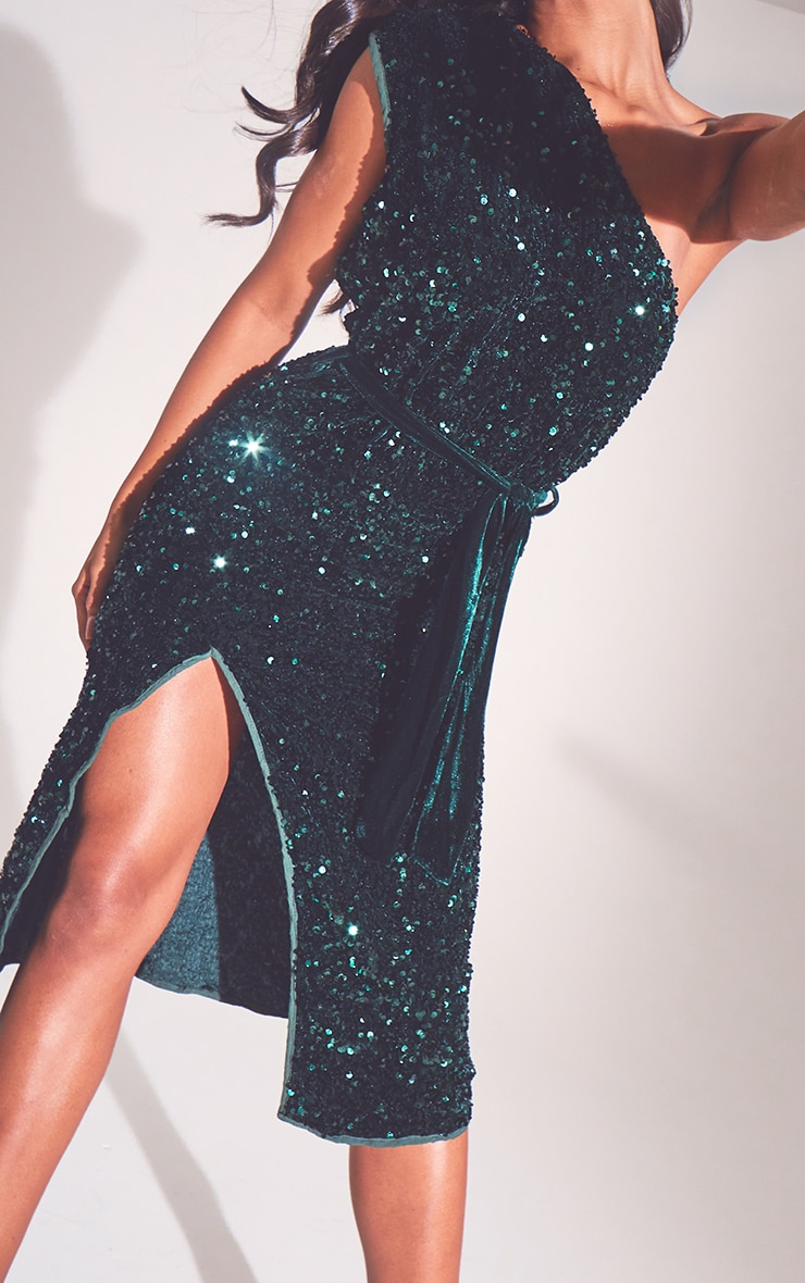 Emerald Green Premium Velvet Sequin One Shoulder Tie Waist Midi Dress 4