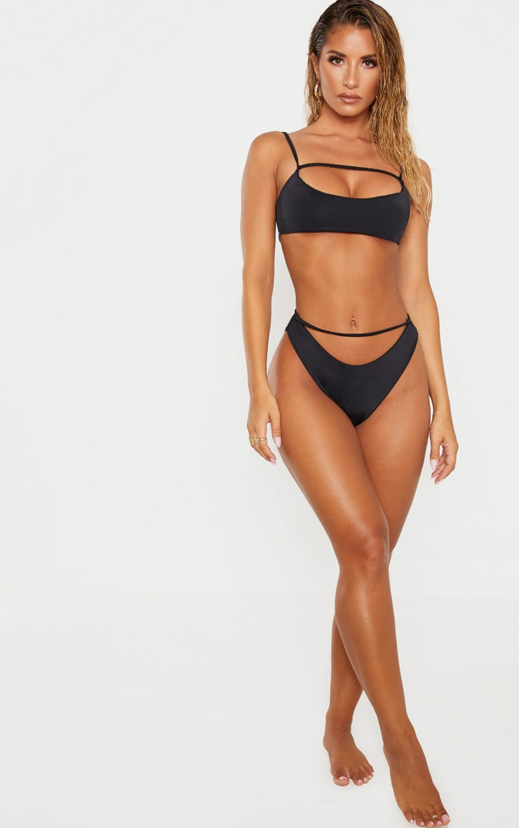 Black Strap Front High Leg Bikini Bottom 5